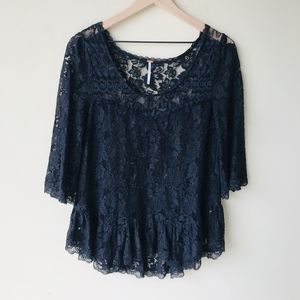 Free People black lace shirt
